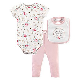 Little Treasure 3-Piece Boho Bodysuit, Pant & Bib Set in Pink/White