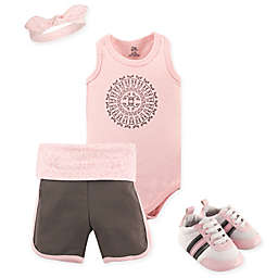Yoga Sprout 4-Piece Scroll Short, Bodysuit, Headband and Crib Shoe Set in Grey/Pink