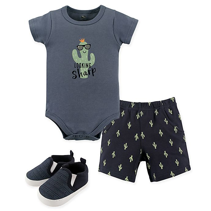 Alternate image 1 for Hudson Baby® 6-9M 3-Piece Cactus Bodysuit, Shorts & Shoes Set in White