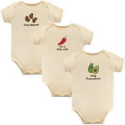 Touched by Nature 12-18M Avocado 3-Pack Organic Cotton Bodysuits in Beige