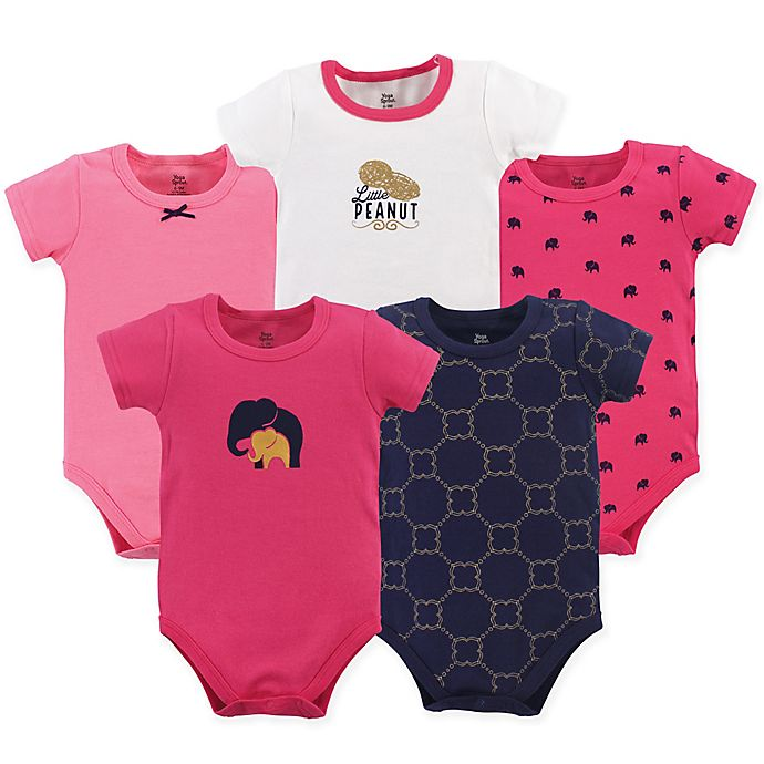 Alternate image 1 for Yoga Sprout Size 12-18M 5-Pack Metallic Elephant Short Sleeve Bodysuits in Pink/Blue
