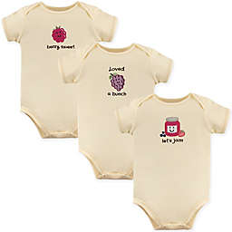 Touched by Nature Grape 3-Pack Organic Cotton Bodysuits in Beige