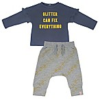 Mini Heroes™ Newborn Glitter Fix Long Sleeve Shirt and Pant Set in Grey
