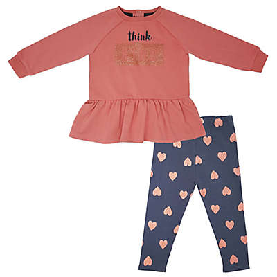 """Mini Heroes™ """"Think Kind"""" Long Sleeve Tunic and Pant Set in Pink"""