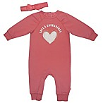 Mini Heroes Size 3M 2-Piece Fuzzy Heart Headband and Romper Set in Pink