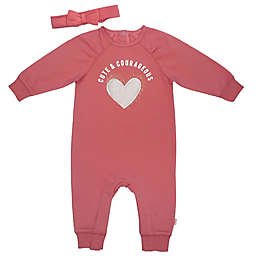 Mini Heroes 2-Piece Fuzzy Heart Headband and Romper Set in Pink