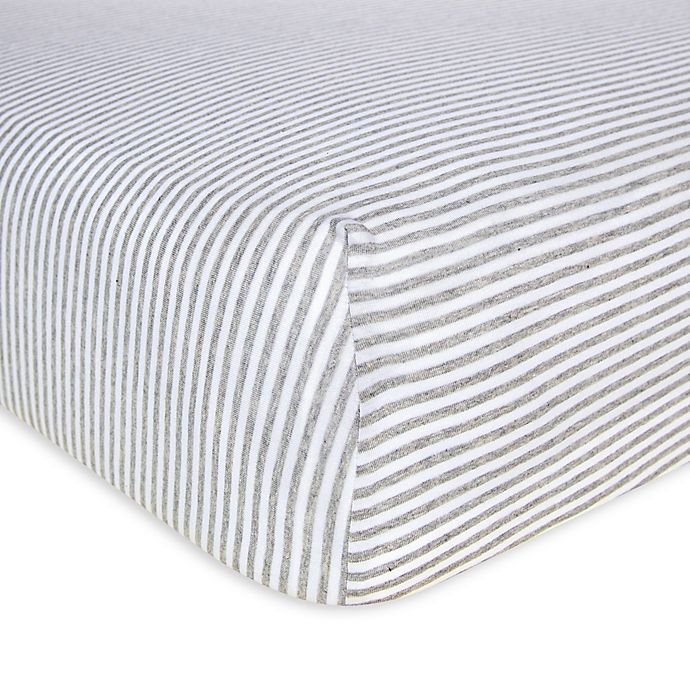 Alternate image 1 for Burt's Bees Baby® Bee Essentials Stripe Organic Cotton Fitted Crib Sheet in Grey