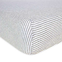 Burt's Bees Baby® Bee Essentials Stripe Organic Cotton Fitted Crib Sheet in Heather Grey