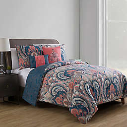VCNY Home Casa Re Àl Reversible Full/Queen Comforter Set in Coral