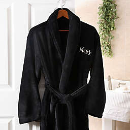 Embroidered Luxury Fleece Robe in Black 475acdb02