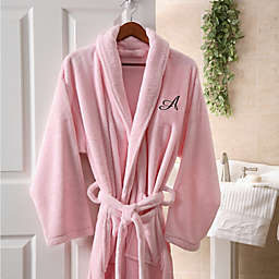 Hers Embroidered Luxury Fleece Robe in Pink 72c84ebe8