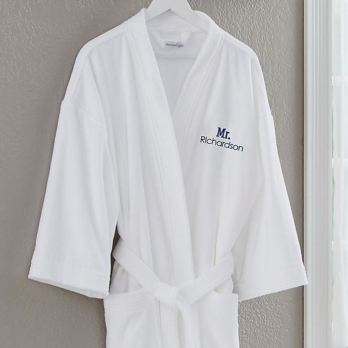 Alternate image 1 for Mr. Embroidered Velour Robe in Classic White