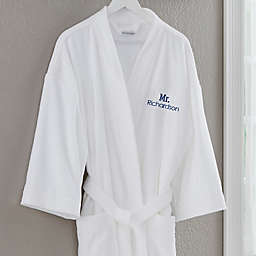 Mr. Embroidered Velour Robe in Classic White