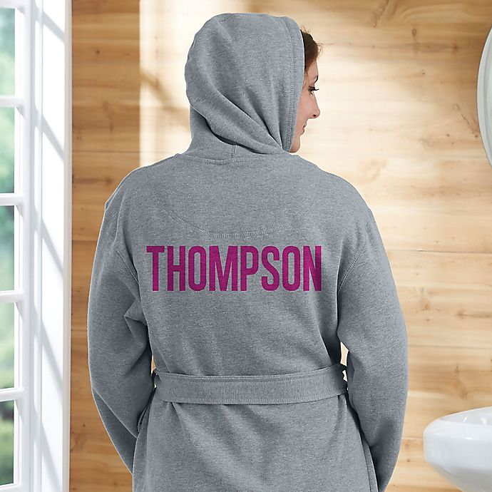 Alternate image 1 for Classic Name Embroidered Sweatshirt Robe in Grey