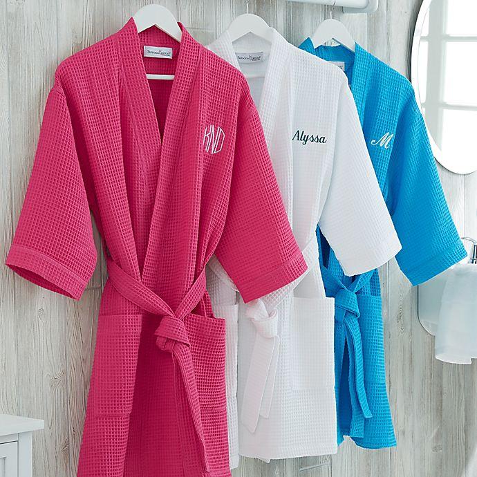 Alternate image 1 for Embroidered Waffle Weave Kimono Robe