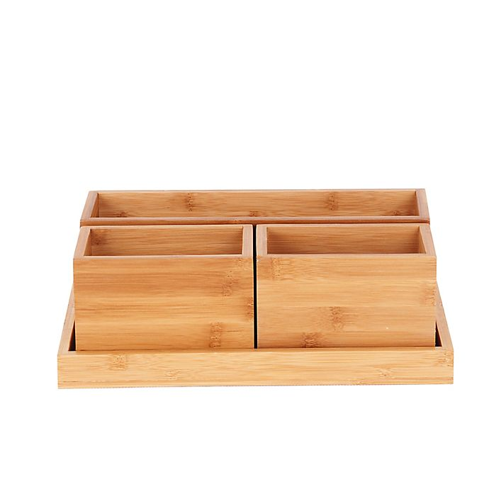 Alternate image 1 for 4-Piece Tray Set in Bamboo