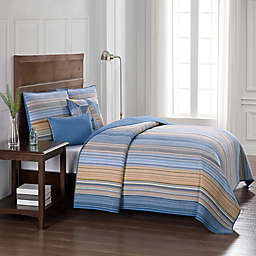Moon Lake Stripe Full/Queen Quilt in Blue/Yellow