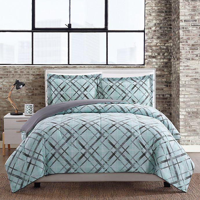 Alternate image 1 for Justinya 3-Piece Full/Queen Comforter Set in Turquoise/Grey
