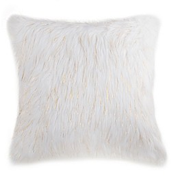 Flokati Faux Fur 18-Inch Square Throw Pillow in Ivory/Gold