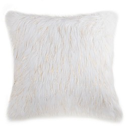 Flokati Faux Fur 26-Inch Square Throw Pillow in Ivory/Gold