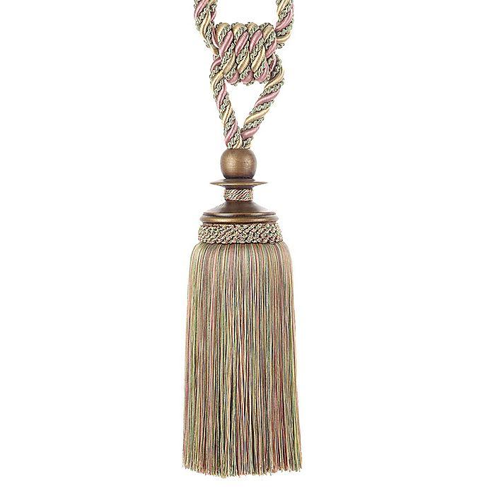 Alternate image 1 for Single 9-Inch Tassel Tie Back in Gold/Pink