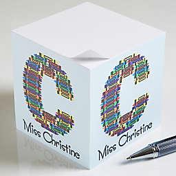 Teacher Crayon Letter Paper Note Cube