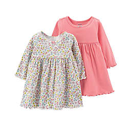 carter's® 3-Piece Long Sleeve Dress and Diaper Cover Set in Coral