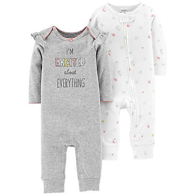 "carter's® 2-Pack ""Excited"" Coveralls in White/Grey"