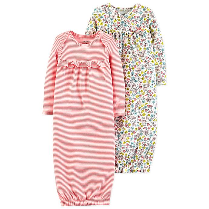 Alternate image 1 for carter's® Size 0-6M 2-Pack Babysoft Sleeper Gowns