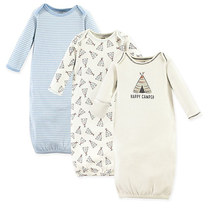 Alternate image 1 for Touched by Nature 0-6M 3-Pack Teepee Organic Gowns