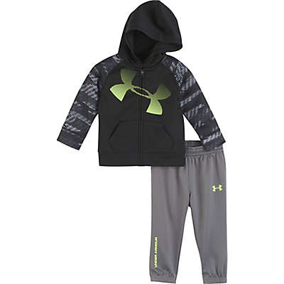 Under Armour® 2-Piece Logo Hoodie and Pant Set in Black/Grey