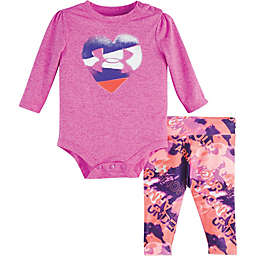 Under Armour® 2-Piece Logo Heart Bodysuit and Pant Set in Pink