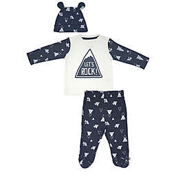 Mini Heroes™ 3-Piece Rock On Shirt, Footed Pant, and Hat Set in Grey