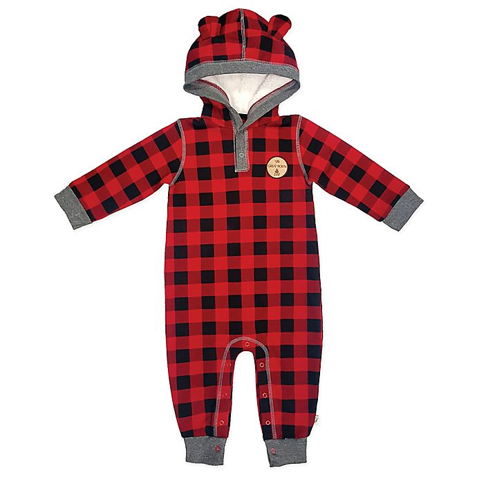 Alternate image 1 for Mini Heroes™ Plaid Hooded Coverall in Red