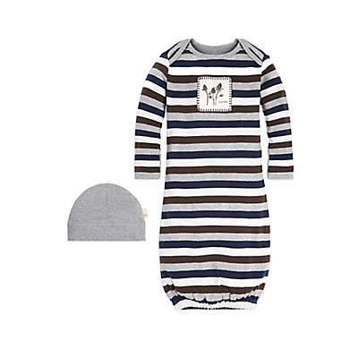 Burt's Bees Baby® 2-Piece Striped Gown and Cap Set