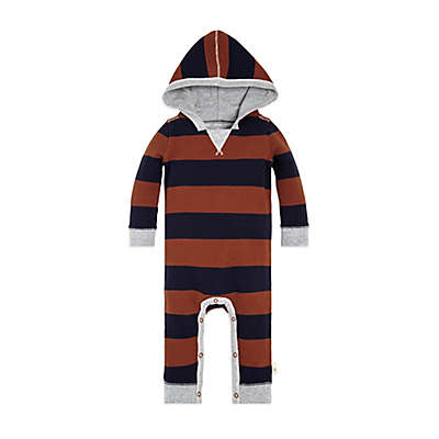 Burt's Bees Baby® Thermal Rugby Stripe Coverall in Rust/Blue