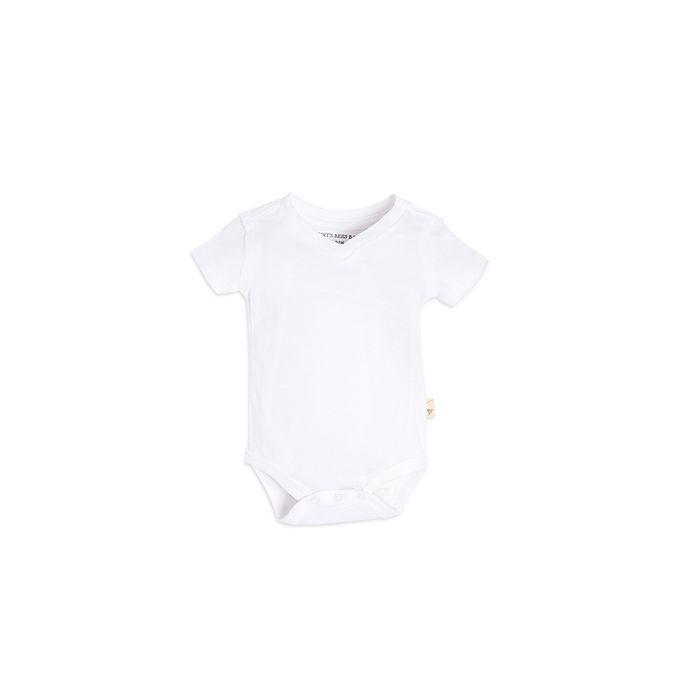 Alternate image 1 for Burt's Bees Baby® Size 3-6M Short-Sleeve V-Neck Bodysuit in White