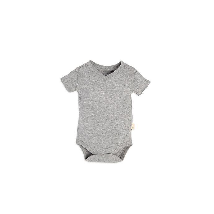 Alternate image 1 for Burt's Bees Baby® Size 6-9M Short-Sleeve V-Neck Bodysuit in Grey