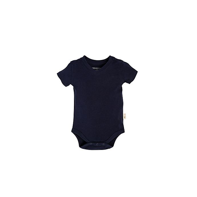 Alternate image 1 for Burt's Bees Baby® Short-Sleeve V-Neck Bodysuit in Navy