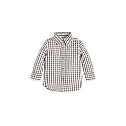 Burt's Bees Baby® Gingham Button Front Shirt in Grey