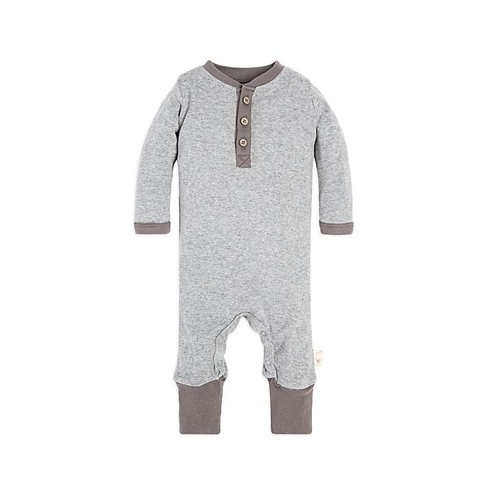 Alternate image 1 for Burt's Bees Baby® Henley Coverall in Grey