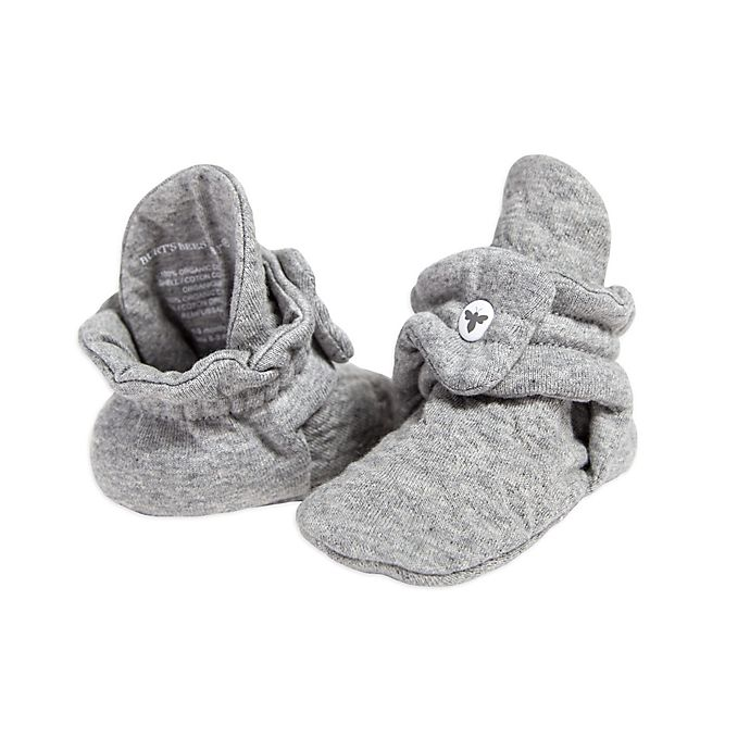 Alternate image 1 for Burt's Bees Baby® Size 3-9M Quilted Bee Booties in Grey