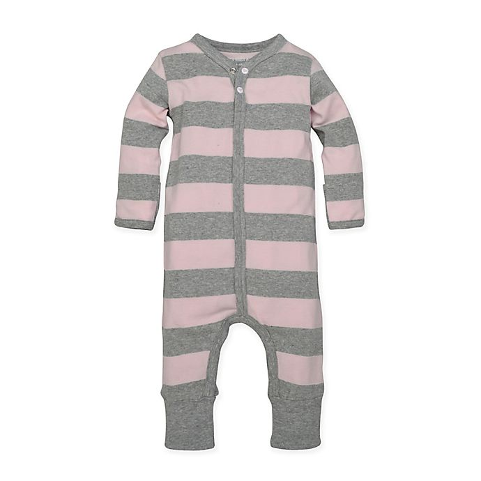 Alternate image 1 for Burt's Bees Baby® Size 9M Organic Cotton Rugby Stripe Coverall in Pink