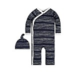 Burt's Bees Baby® Size 9M 2-Piece Melody Stripe Kimono and Hat Set in Navy