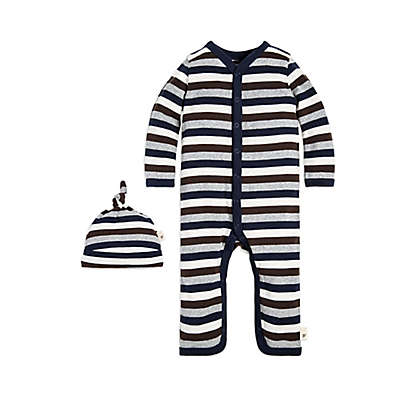 Burt's Bees Baby® 2-Piece Stripe Coverall and Hat Set