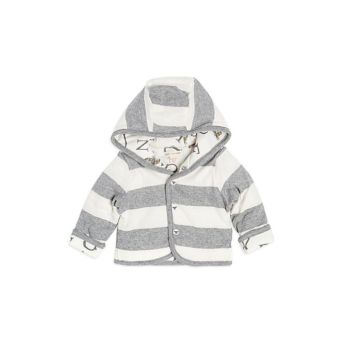 Alternate image 1 for Burt's Bees Baby® Newborn Organic Cotton Watercolor Bee Reversible Jacket in Grey