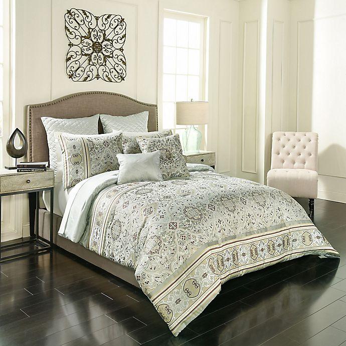 Alternate image 1 for Vue Signature Valencia Reversible Queen Comforter Set in Sage