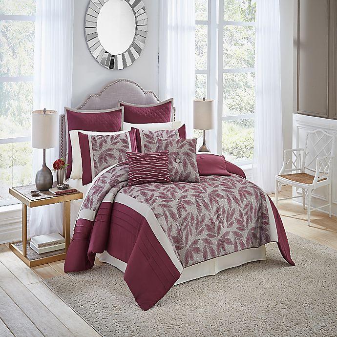 Alternate image 1 for Vue® Signature Mercer 7-Piece Reversible Queen Comforter Set in Burgundy
