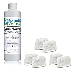 Essential Values Coffee Machine Descaler and Cleaner with Bonus 6-Pack Keurig Filters