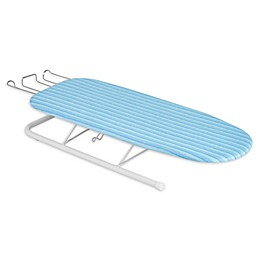 Honey-Can-Do® Deluxe Tabletop Ironing Board with Retractable Iron Rest in White/Aqua